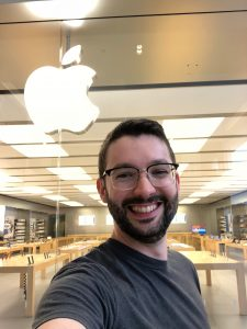 RP Plourde's last day at Apple, smiling