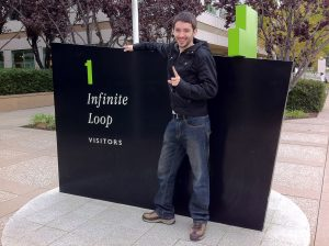 RP Plourde in front of 1 Infinite Loop, California