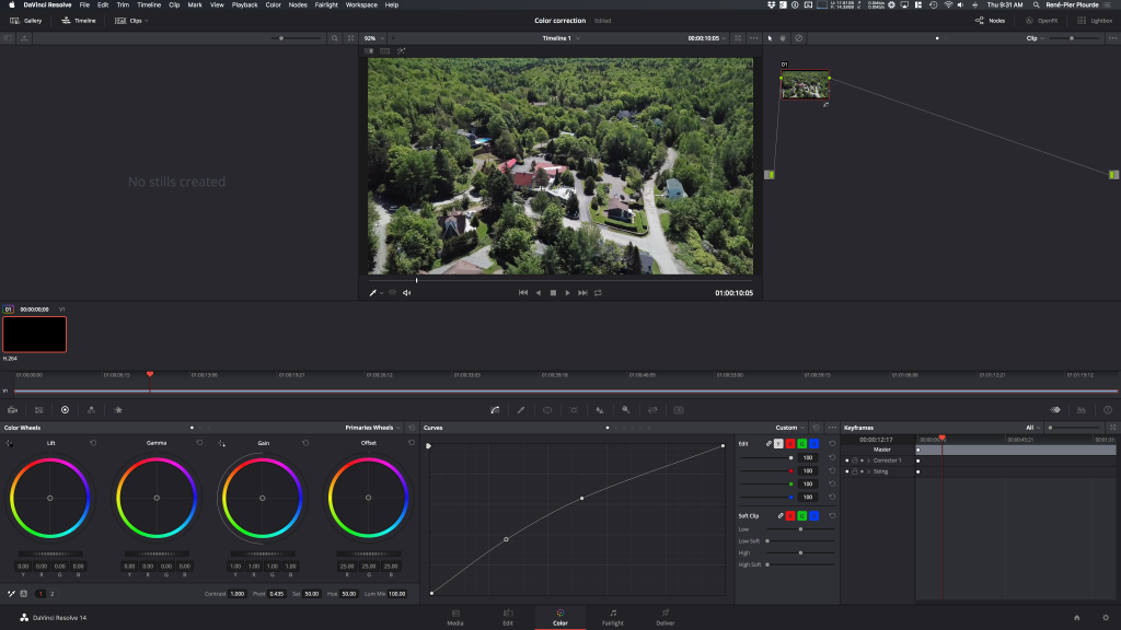 Color correction inside the free video editing software Da Vinci Resolve