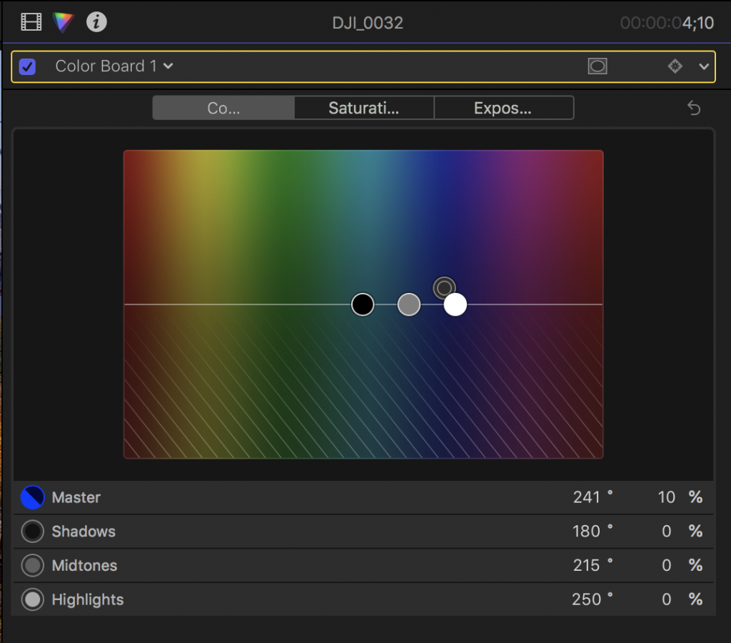 Tint, exposure and saturation in Final Cut Pro